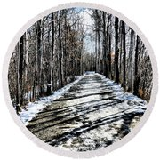 Path In Winter Round Beach Towel