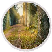 Path Into The Light Round Beach Towel