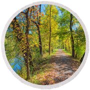 Path Through Fall Round Beach Towel