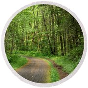 Round Beach Towel featuring the photograph Path Through The Woods by Jean Noren