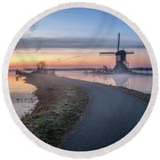 Path Through Windmill City Round Beach Towel