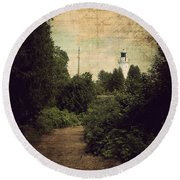 Path To Cana Island Lighthouse Round Beach Towel