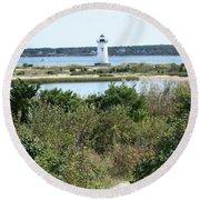 Path To Edgartown Lighthouse Round Beach Towel