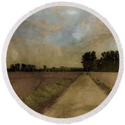 Round Beach Towel featuring the photograph Juchen, Germany - Path To Glehn by Mark Forte