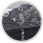 Round Beach Towel featuring the photograph Path To Longs Peak by Dan Sproul