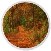 Path To Myklebust Lake Round Beach Towel
