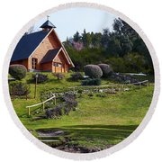 Rustic Church Surrounded By Trees In The Argentine Patagonia Round Beach Towel
