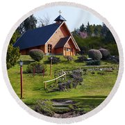 Rustic Church In The Argentine Patagonia Round Beach Towel