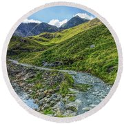 Round Beach Towel featuring the photograph Path To Snowdon by Ian Mitchell