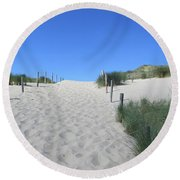 Path To The Beach In The Noordhollandse Duinreservaat Round Beach Towel