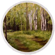 Round Beach Towel featuring the painting Path To The Birches by Laurie Rohner