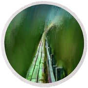 Path To The Unknown #h5 Round Beach Towel
