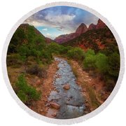 Round Beach Towel featuring the photograph Path To Zion by Darren White