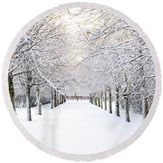 Pathway In Snow Round Beach Towel by Marius Sipa