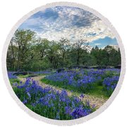 Pathway Through The Flowers Round Beach Towel