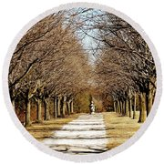 Pathway Through Trees Round Beach Towel