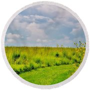 Pathway Through Wildflowers Round Beach Towel