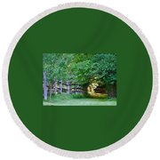 Pathway To A Sunny Summer Morning  Round Beach Towel