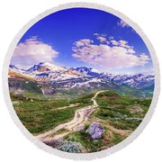 Pathway To A Valley Round Beach Towel
