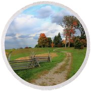 Pathway To Fall Round Beach Towel