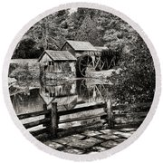 Round Beach Towel featuring the photograph Pathway To Marby Mill In Black And White by Paul Ward