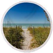 Pathway To Paradise Round Beach Towel