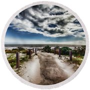 Round Beach Towel featuring the photograph Pathway To The Beach by Douglas Barnard