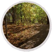 Round Beach Towel featuring the photograph Pathways In Fall by Iris Greenwell