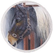 Patient Mare- Glin Fair Round Beach Towel