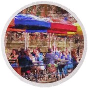 Patio At The Riverwalk Round Beach Towel