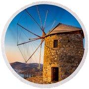 Patmos Windmills Round Beach Towel