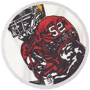 Patrick Willis Round Beach Towel by Jeremiah Colley