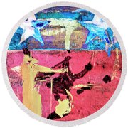 Round Beach Towel featuring the painting Patriot Act by Dominic Piperata