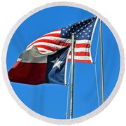 Patriot Proud Texan  Round Beach Towel