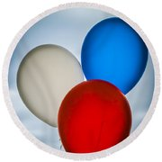 Round Beach Towel featuring the photograph Patriotic Balloons by Carolyn Marshall