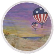 Round Beach Towel featuring the painting Patriotic Balloons by Debbie Baker