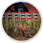 Round Beach Towel featuring the photograph Patriotic Bicycle by Craig J Satterlee