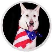 Patriotic Dog Round Beach Towel