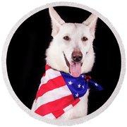 Patriotic Dog Round Beach Towel