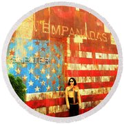 Patriotic Empanadas Wall In New York  Round Beach Towel by Funkpix Photo Hunter