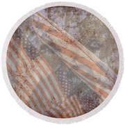 Patriotic Lab Round Beach Towel by Mary Ward