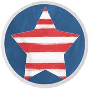Patriotic Star Round Beach Towel
