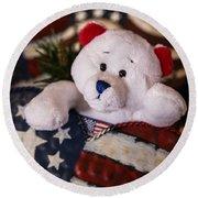 Patriotic Teddy Bear Round Beach Towel