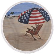 Round Beach Towel featuring the painting Patriotic Umbrella by Debbie Baker