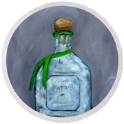 Patron Silver Tequila Bottle Man Cave  Round Beach Towel