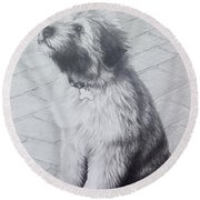 Patsy's Puppy Round Beach Towel by Mike Ivey
