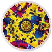 Pattern 2 Intersect Round Beach Towel by Ron Bissett