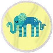 Pattern Elephant Round Beach Towel