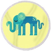 Pattern Elephant Round Beach Towel