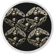 Pattern Of Antique Cupid Angels  Round Beach Towel